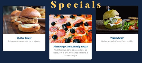 Displaying the weekly specials of a restaurant on their website